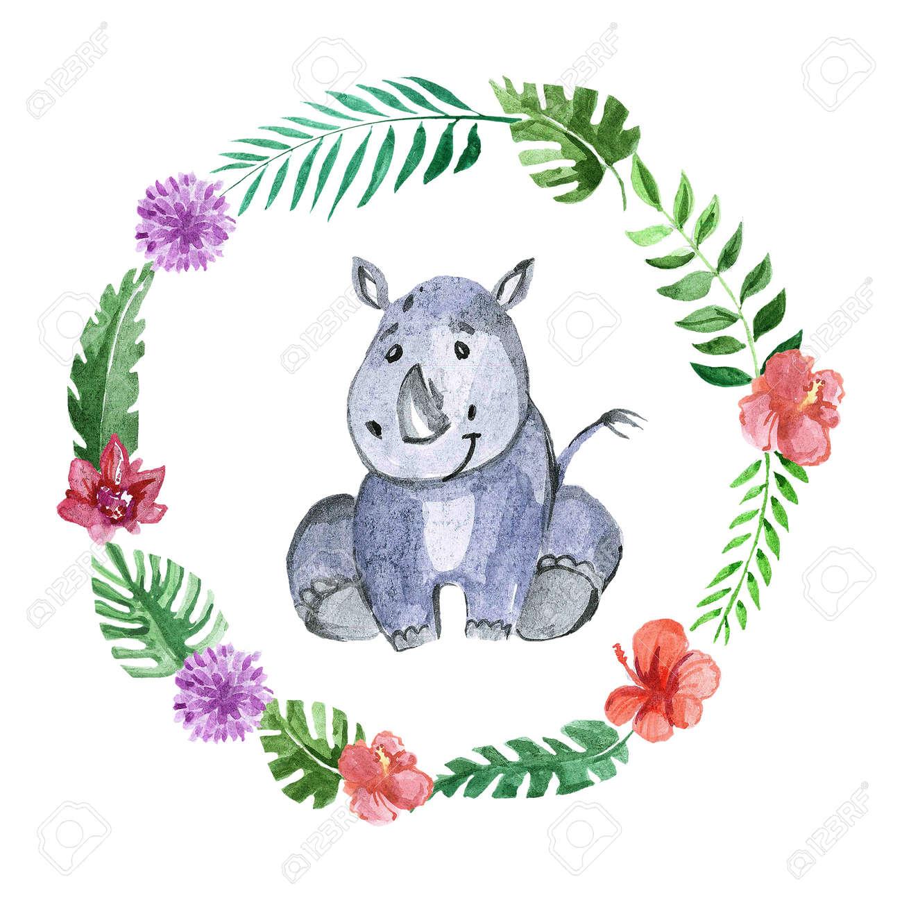Cute baby rhino Animal for kindergarten, nursery, children clothing, kids pattern, invitation, baby shower - 67279887