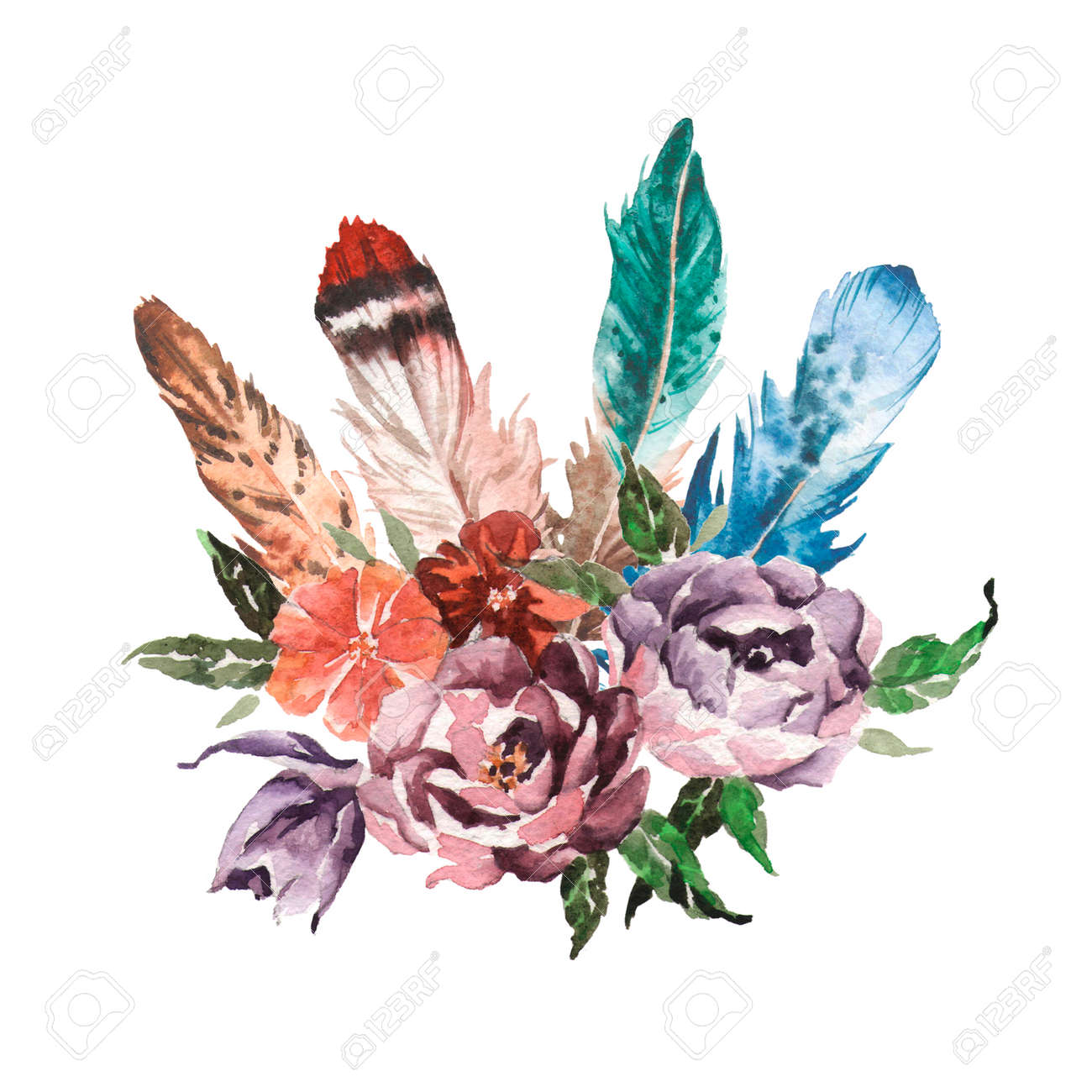 Watercolor Vintage Floral Bouquets. Boho Spring Flowers And Feathers ...