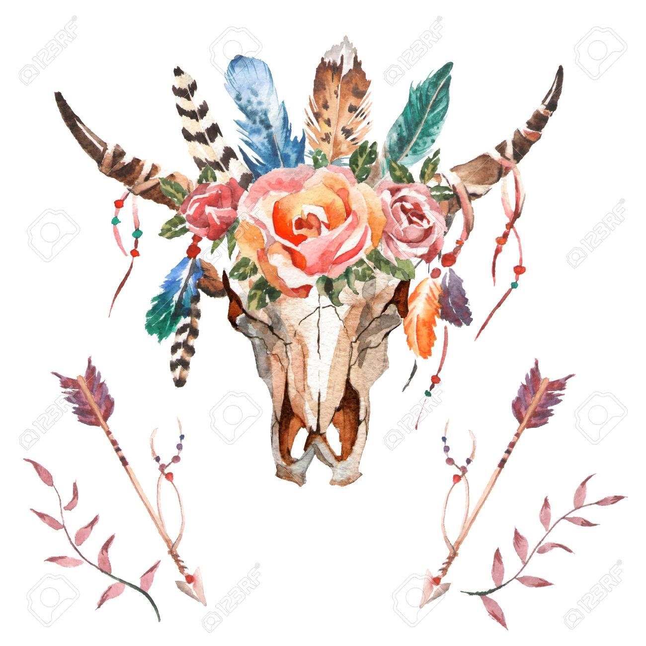 Watercolor isolated bull's head with flowers and feathers on white background. Boho style. Skull for wrapping, wallpaper, t-shirts, textile, posters, cards, prints Hand drawn image - 67915013