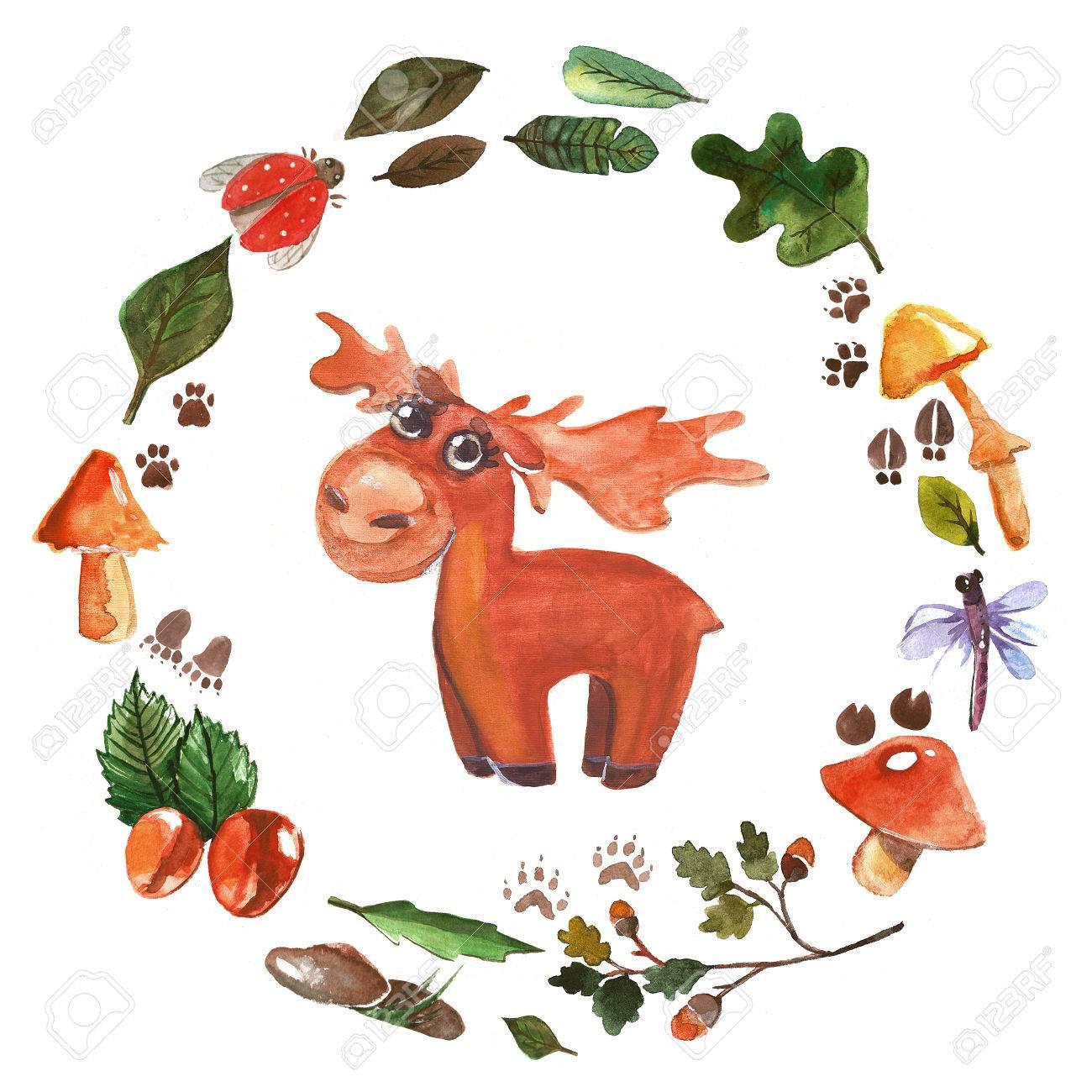 Aquarell Rahmen Mit Waldtiere Für Babyparty, Kindergarten, Schule ...