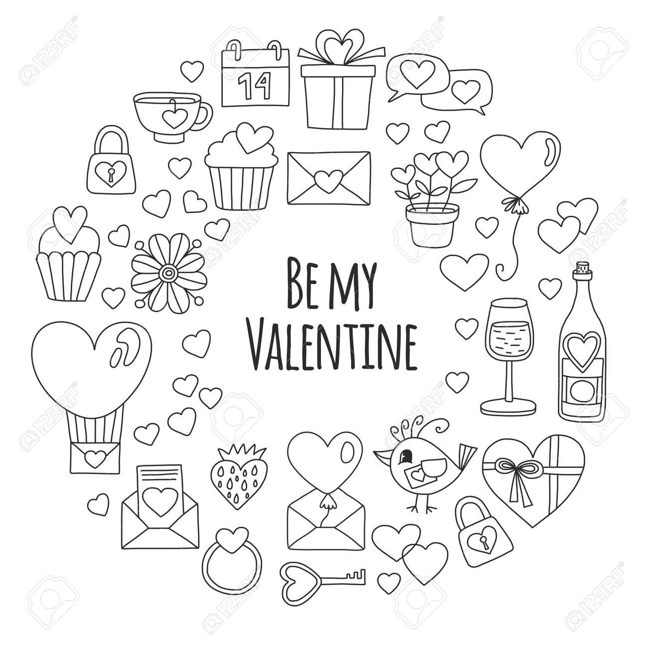 Día De San Valentín Patrón De Vector Con El Corazón, Torta, Globo ...