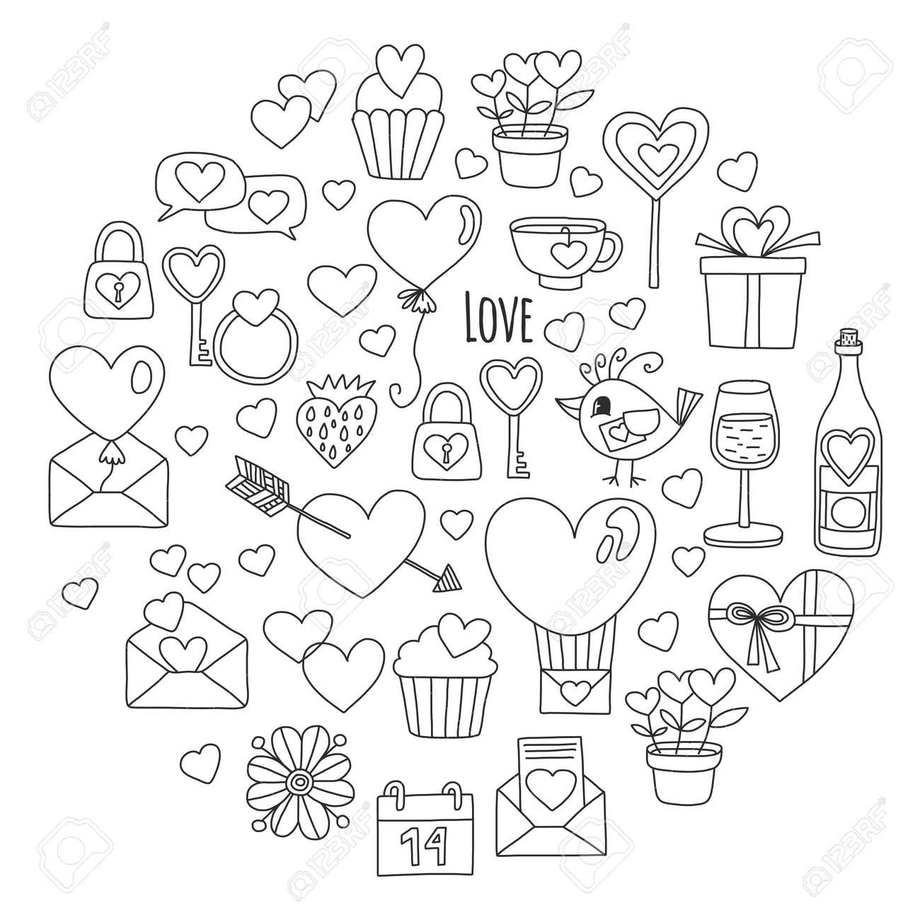 Coloriage Ballon En Coeur.Motif Valentine Day Vector Avec Le Coeur Gateau Ballons Pour Les
