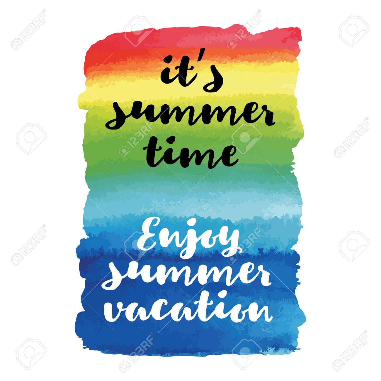 Enjoy Summer Vacation Its Time Quote Vector Poster Stock Photo