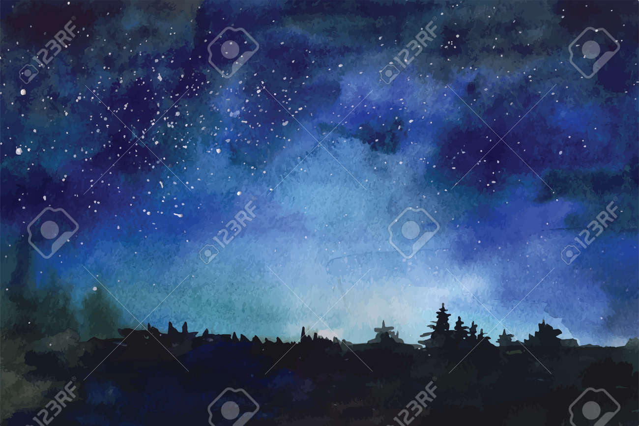 Watercolor Vector Background Space Stars Constellation Nebula Stock