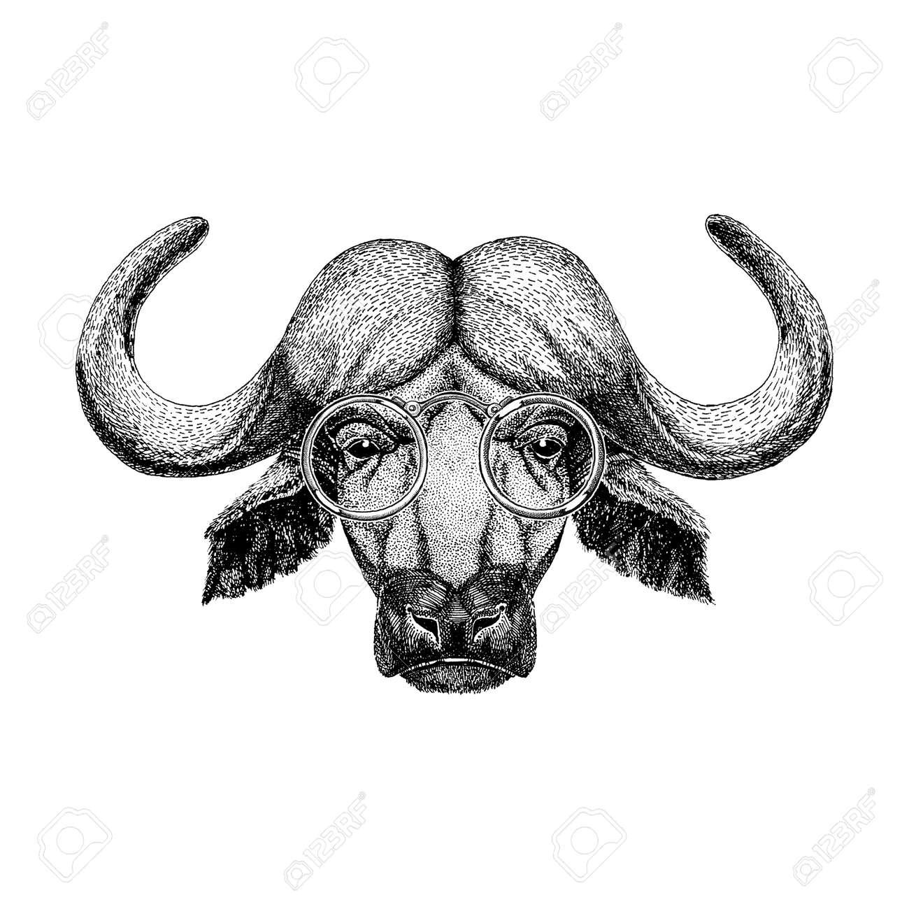 66fdb4956 Buffalo wearing glasses Image of bison, bull, buffalo for tattoo, , emblem,
