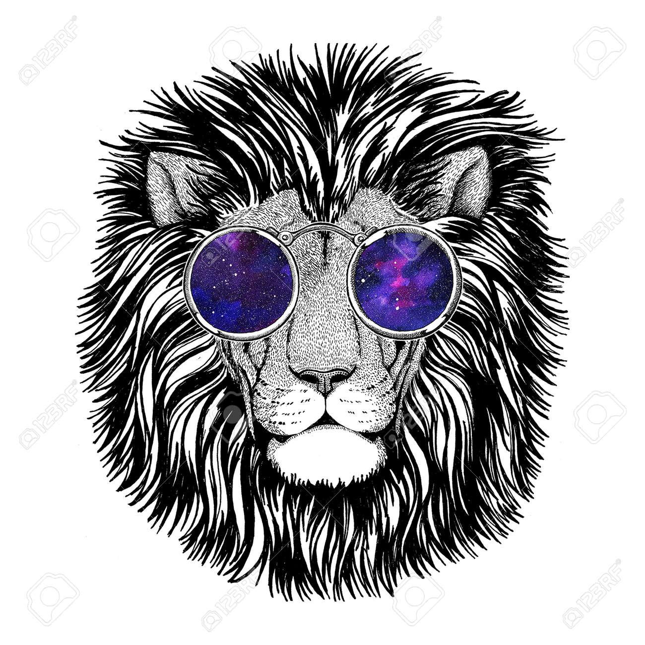 Wild hipster lion Image for tattoo, logo, emblem, badge design - 74270628