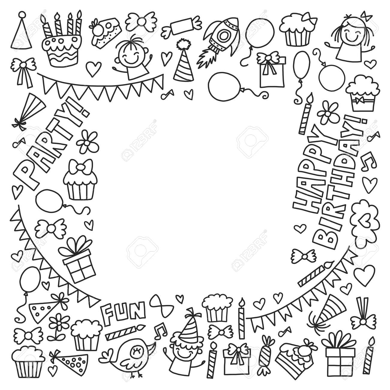 Vector Kids Party Coloring Page Children Birthday Icons In Doodle ...