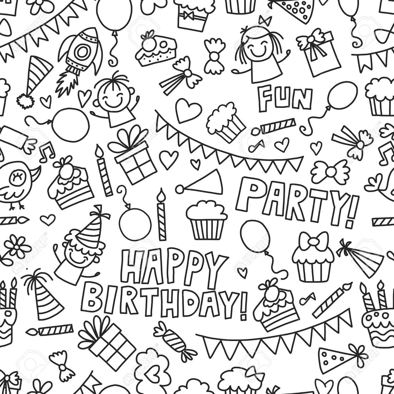 Vector Kids Party Malvorlage Kinder Geburtstag Icons In Doodle-Stil ...