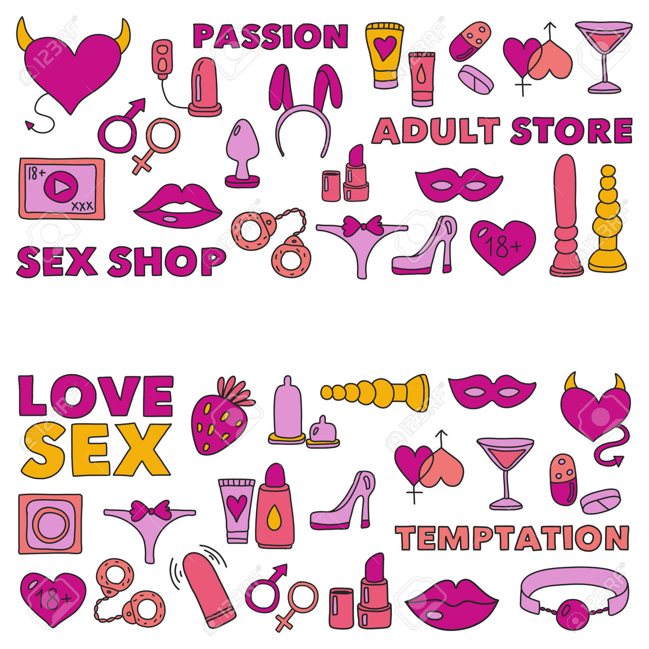 Pattern with toys for adults Sex shop, adult shop, adult store Stock Vector  -