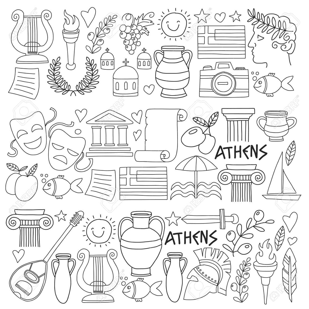 Antigua Grecia Elementos Del Vector En Estilo Doodle Para Colorear