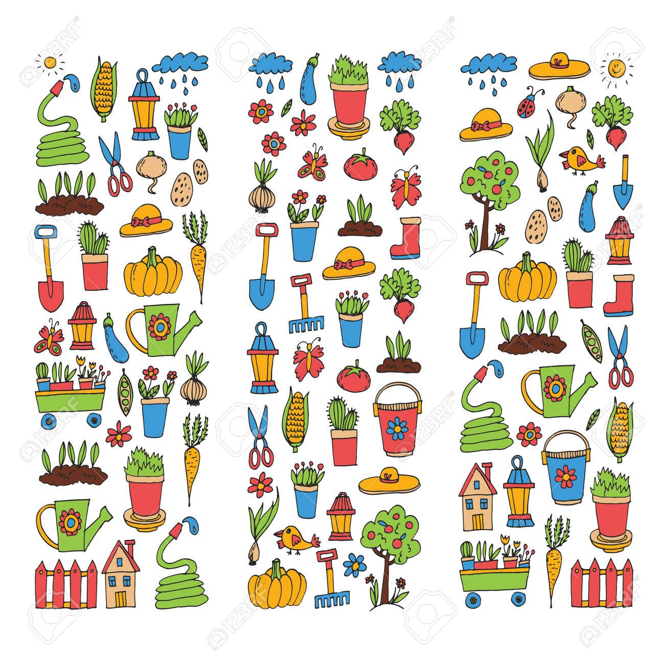 Gardening Cute garden vector set Equipment, plants, vegetables - 75338263