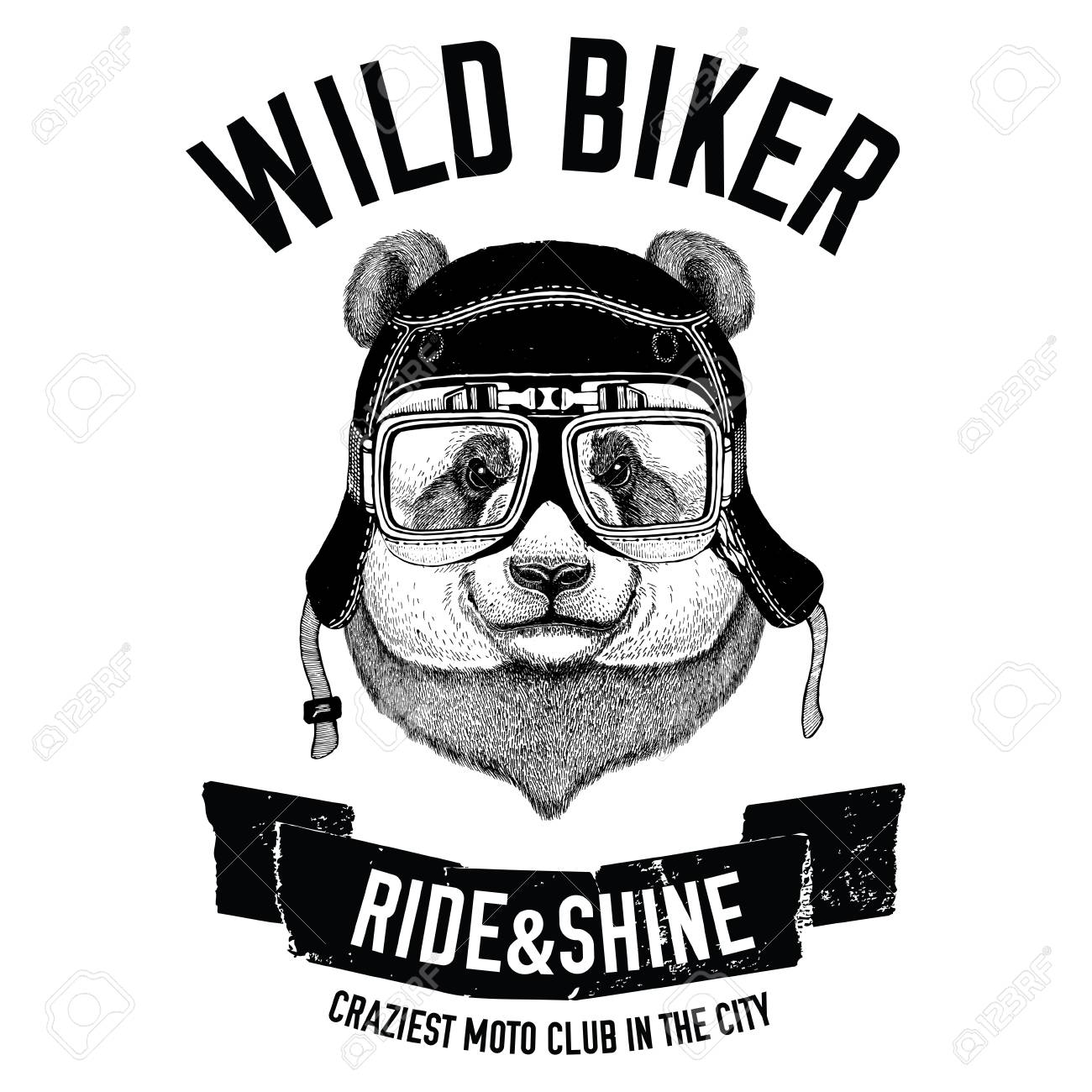 Vintage Images Of Panda Bear For T Shirt Design For Motorcycle