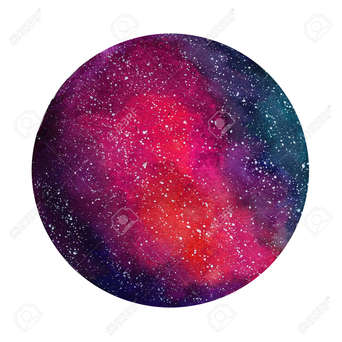 Space Cosmic background. Colorful watercolor galaxy or night sky with stars. Hand drawn cosmos illustration with blobs texture. Black, emerald, violet, green watercolour stains. - 75715287