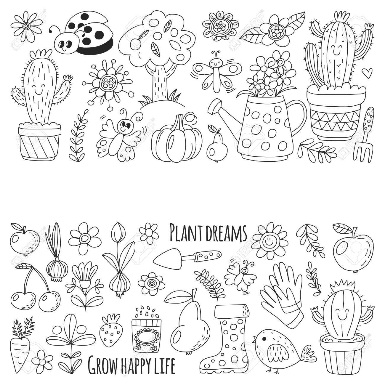 Netter Vektor Garten Mit Vögeln, Kaktus, Pflanzen, Früchte, Beeren ...