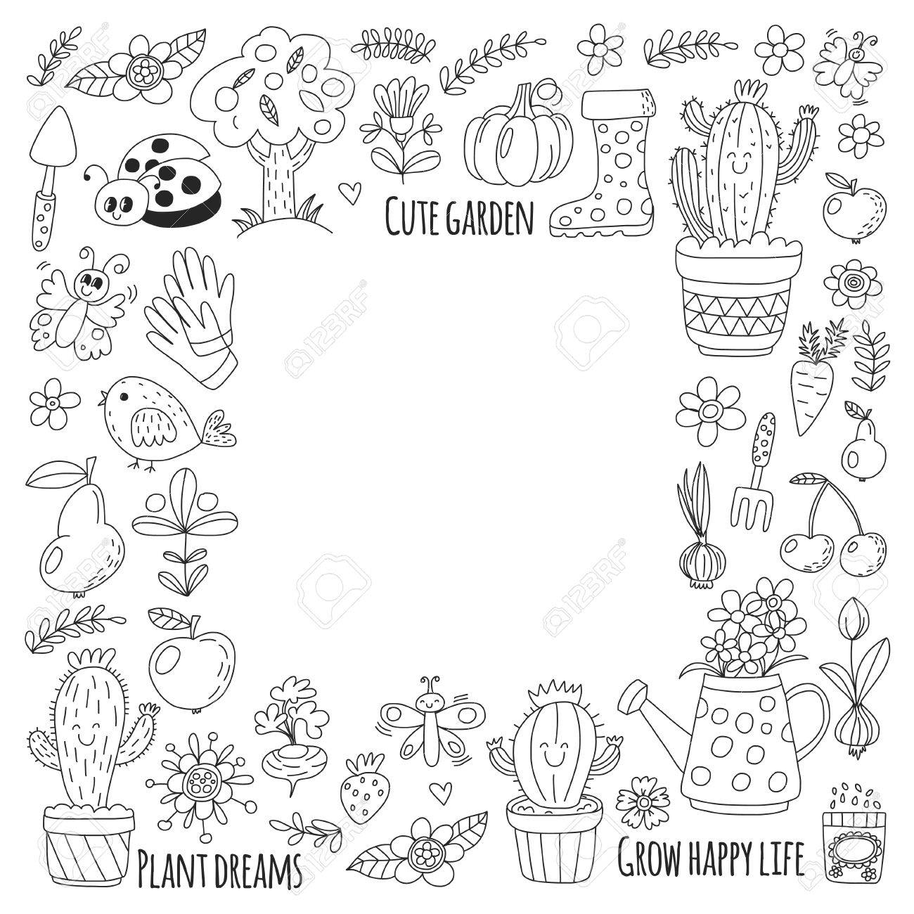 Jardín Linda Del Vector Con Los Pájaros, Cactus, Plantas, Frutas ...