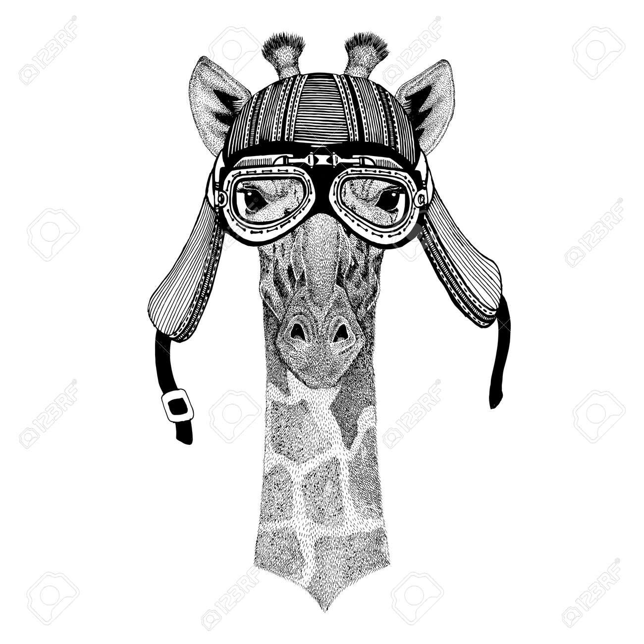 Camelopard, giraffe Hand drawn image of animal wearing motorcycle helmet for t-shirt, tattoo, emblem, badge, logo, patch - 76460748