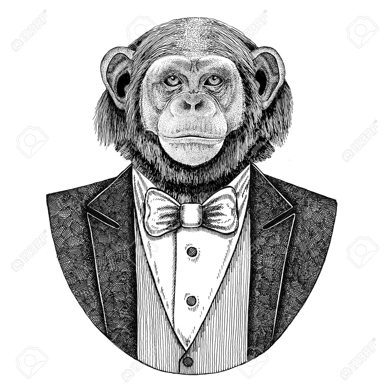9ce02a3fe250c6 ... t-shirt. Chimpanzee Monkey Hipster animal Hand drawn illustration for  tattoo, emblem, badge, logo,