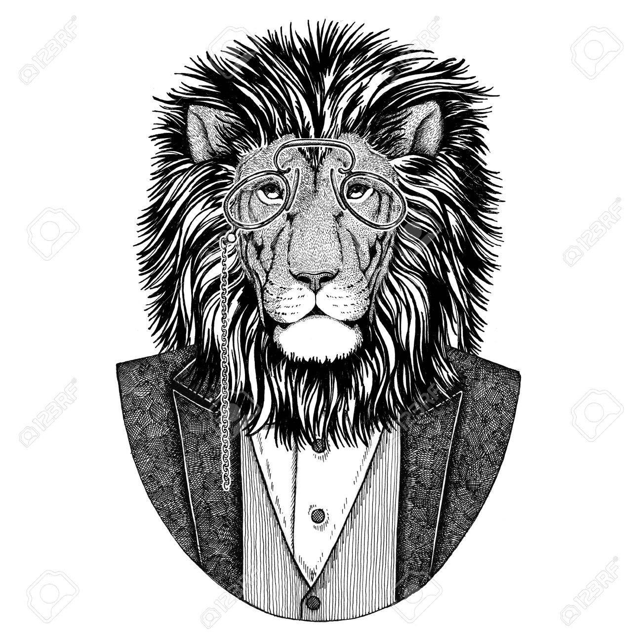 Wild Lion Hipster Animal Illustration Dessinee A La Main Pour Le Tatouage L Embleme Le Badge Le Logo Le Patch Le T Shirt