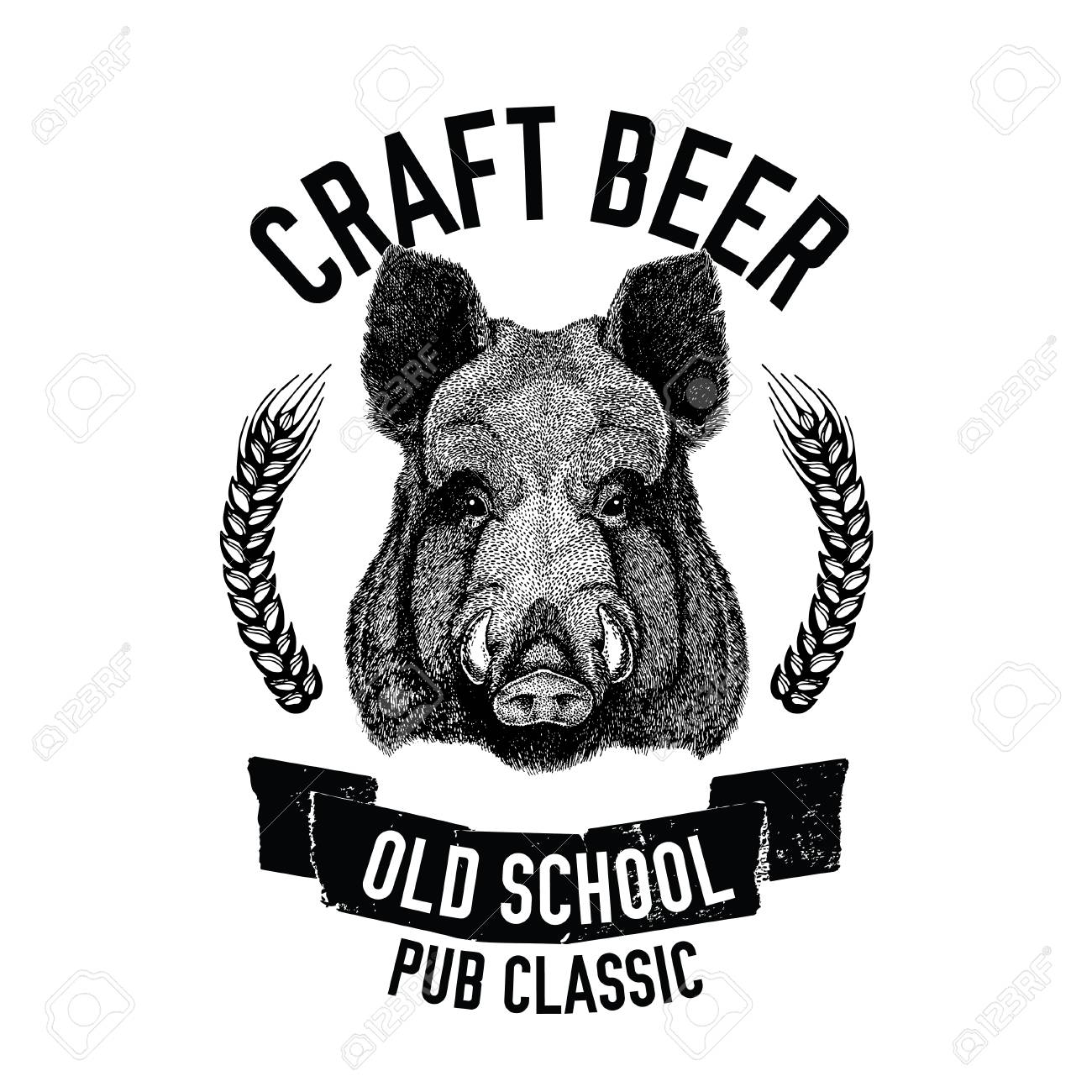 hand drawn beer emblem with wild hog boar pig template for