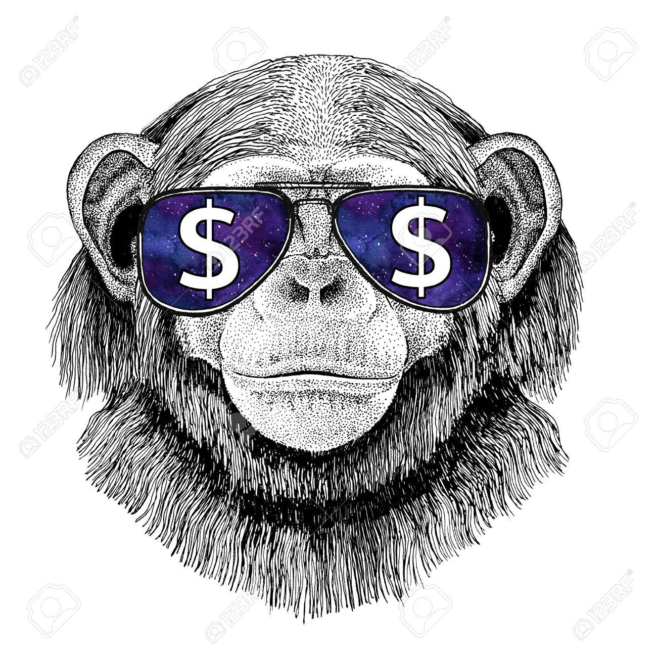 Chimpanzee Monkey wearing glasses with dollar sign Illustration with wild animal for t-shirt, tattoo sketch, patch - 80730255