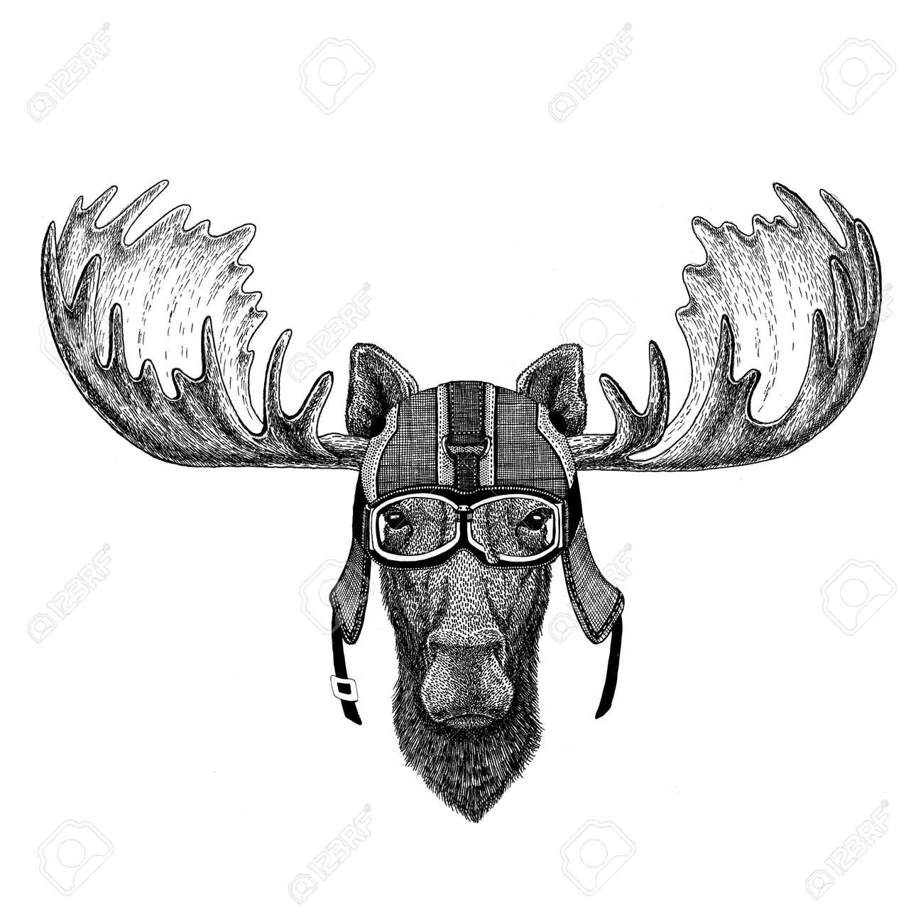Moose, elk wearing motorcycle helmet, aviator helmet Illustration for t-shirt, patch, logo, badge, emblem, logotype Biker t-shirt with wild animal - 82012772