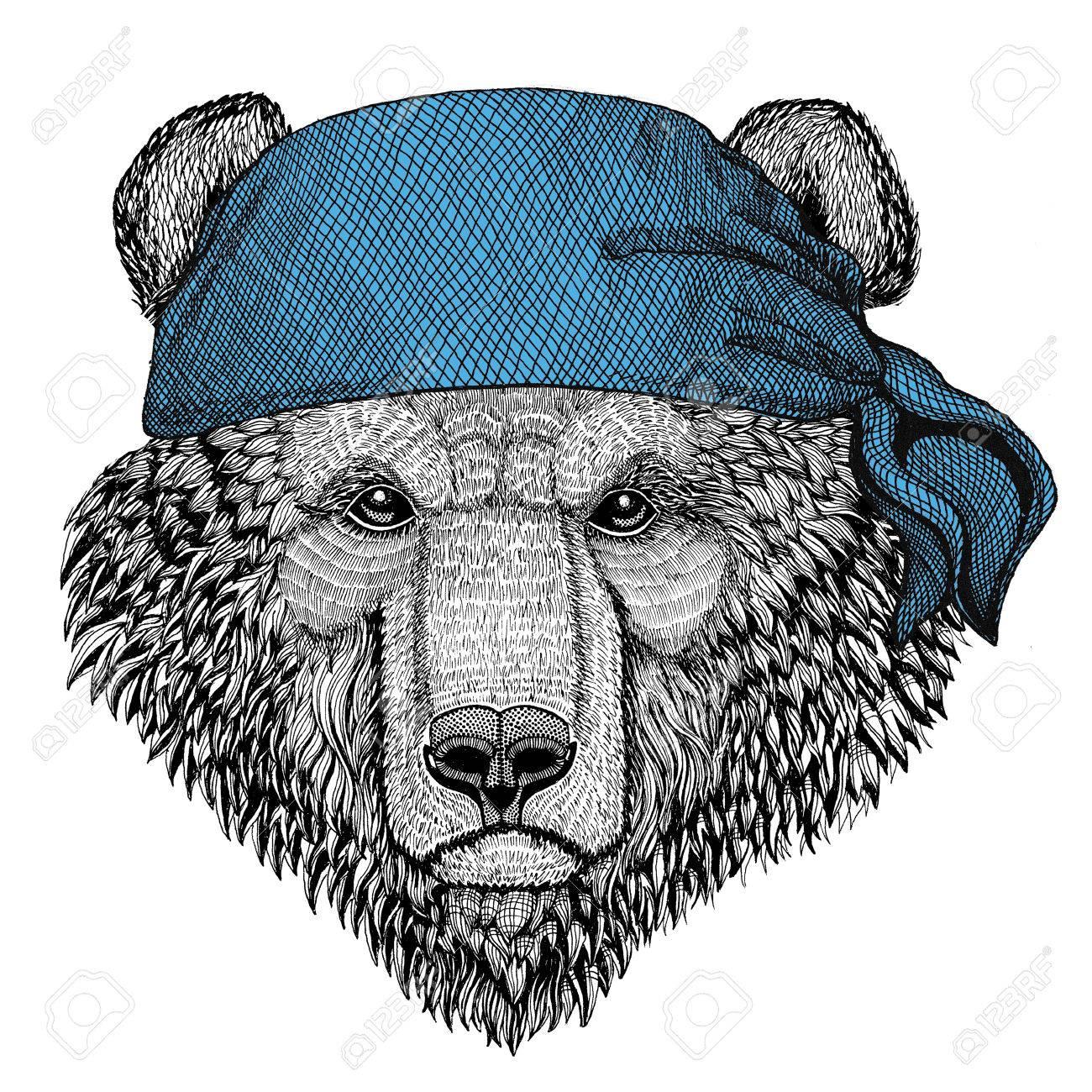 Braunbar Russischer Bar Wildtier Tragen Bandana Oder Tuch Oder
