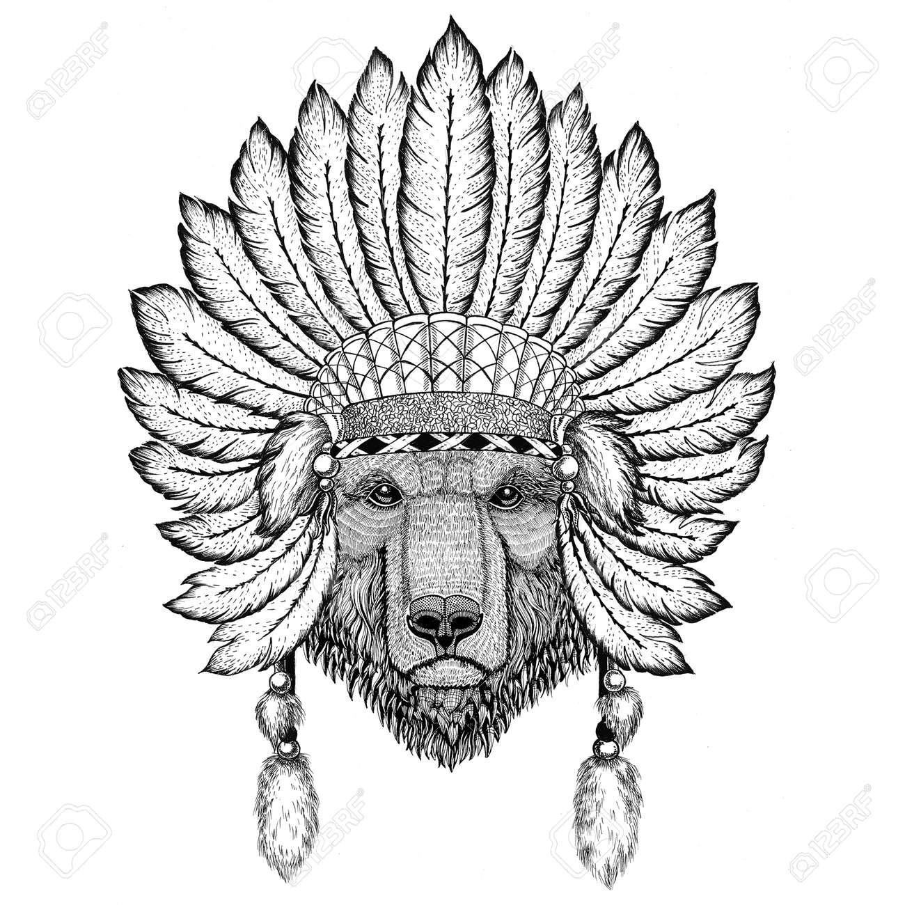 Brown bear Russian bear Wild animal wearing indiat hat with feathers Boho style vintage engraving illustration Image for tattoo, logo, badge, emblem, poster - 83542441