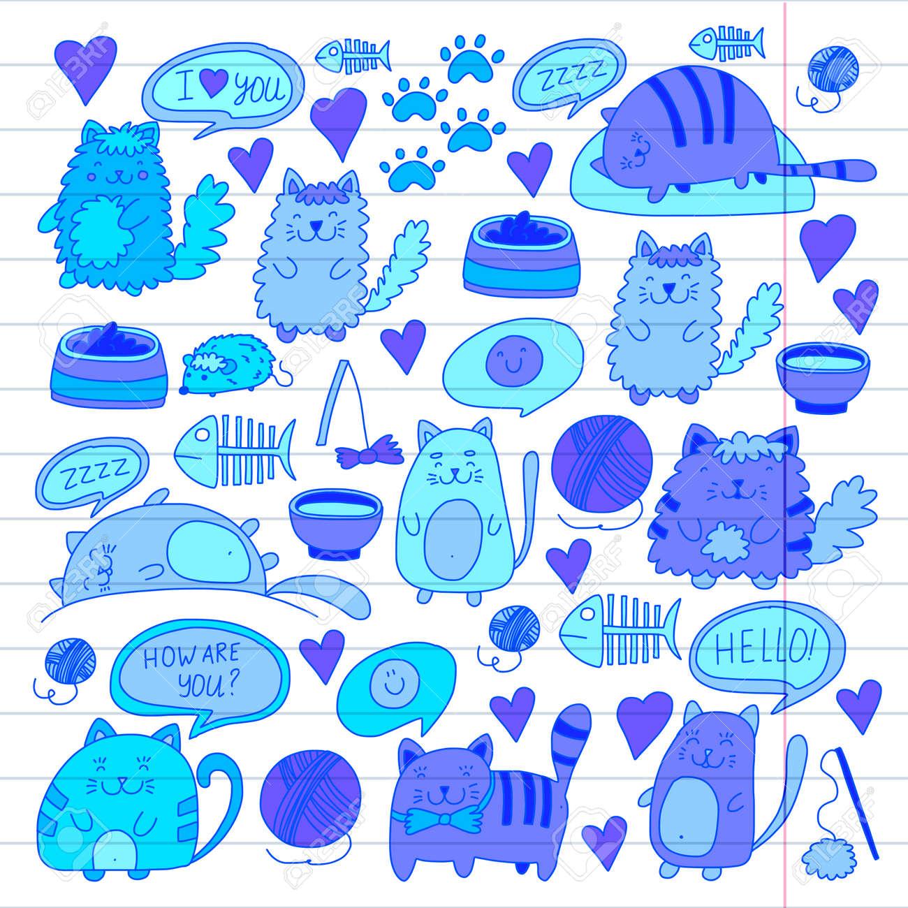 Chats Vecteur Domestique Mignon Kawaii Chatons Style Japonais Kawaii Chats De Bande Dessinée Jouant Illustratrion Pour Animalerie Vétérinaire