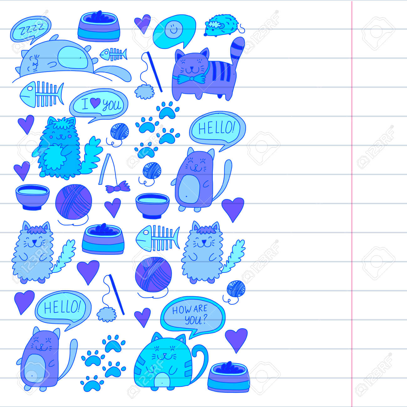 Collection Of Cartoon Cat Playing Illustration For Pet Shop