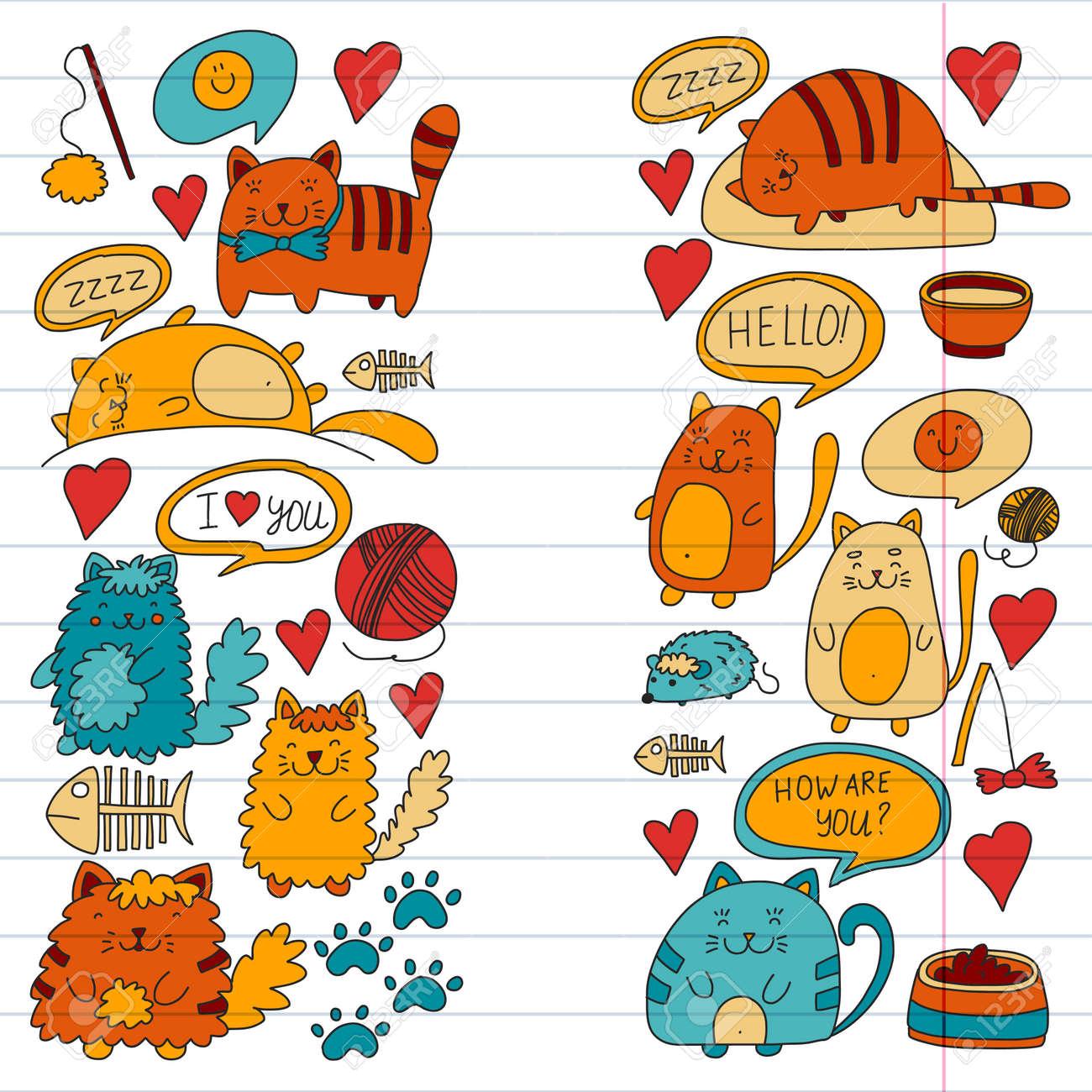 Chats Vecteur Domestiques Chatons Kawaii Mignon Style Japonais Kawaii Chat De Bande Dessinée Jouant Illustratrion Pour Animalerie Vétérinaire
