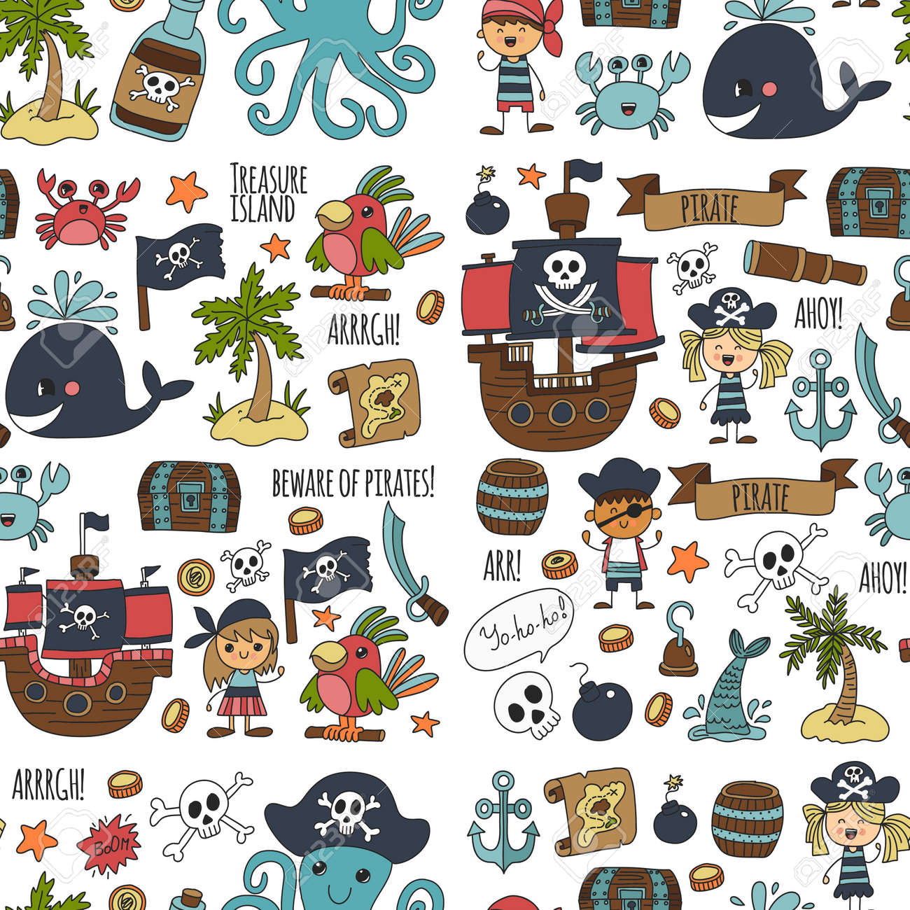 Vector seamless pattern Pirate party for children Kindergarten