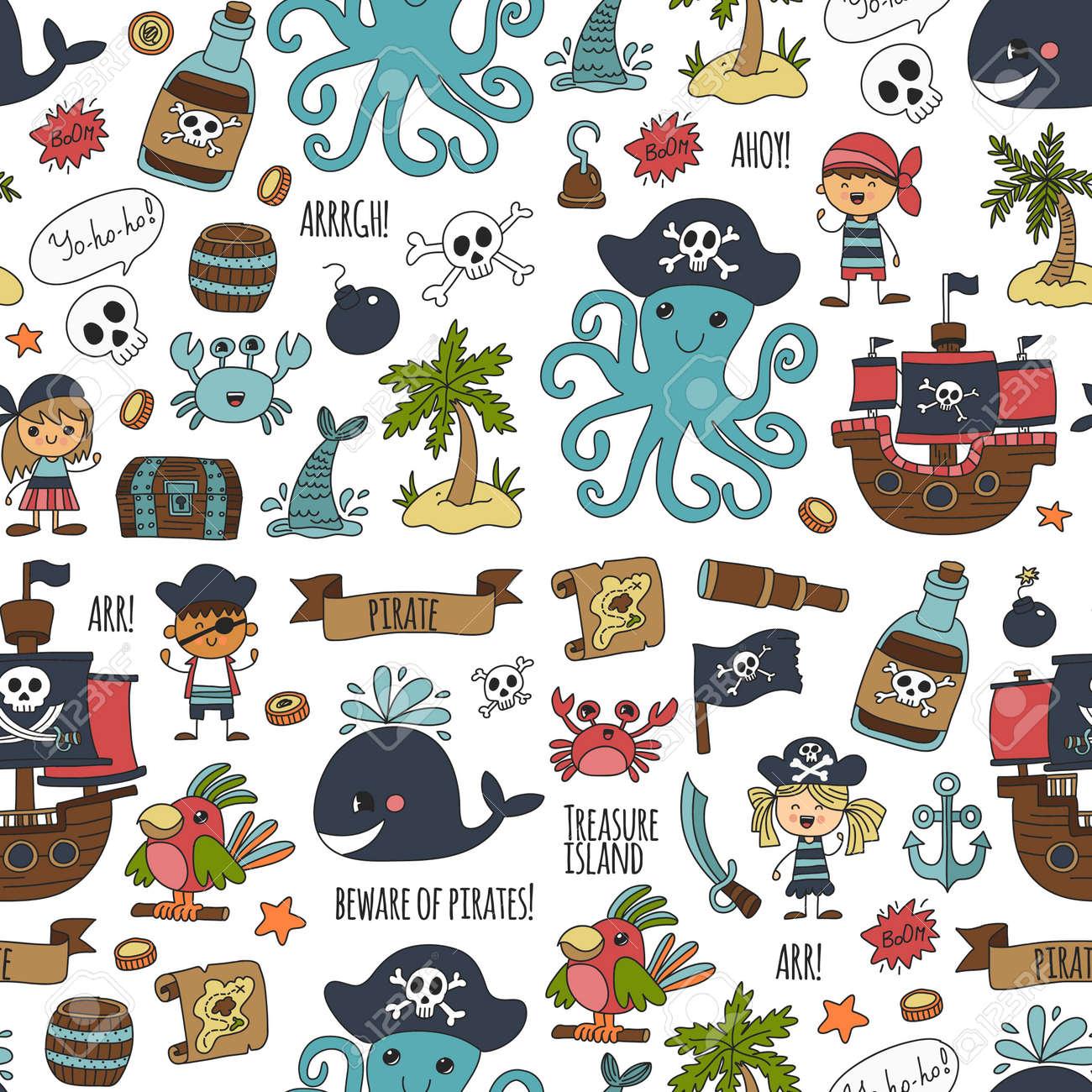 Mapa Del Tesoro Pirata Para Niños.Vector Patron Sin Fisuras Pirata Partido Para Los Ninos Jardin De Infancia Ninos Dibujo Estilo Ilustracion Picutre Con Pirata La Ballena La Isla Del