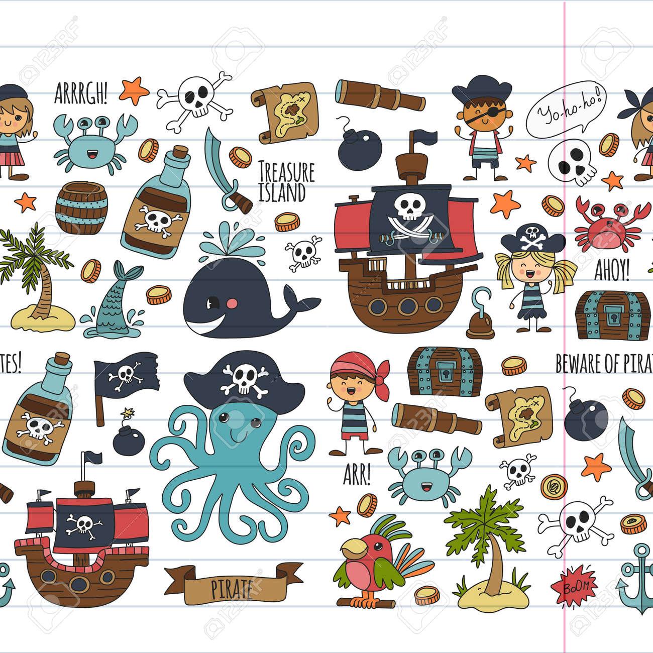 Vektor Nahtlose Muster Piraten Partei Für Kinder Kindergarten Kinder