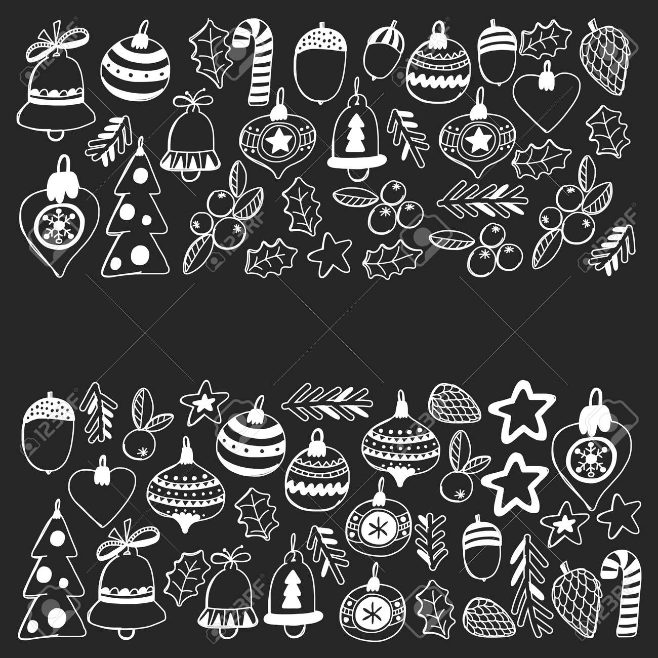Christmas Pattern Christmas Decoration On Blackboard Vector Xmas