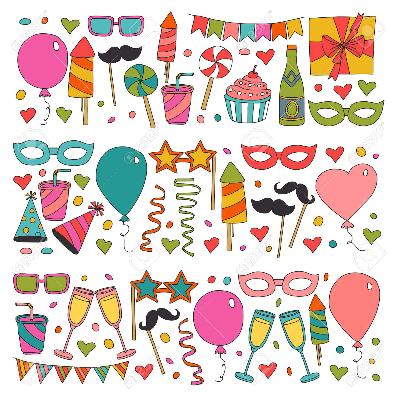Happy Birthday Card Template Kids Drawing Children Party Wedding Invitation Stock Vector
