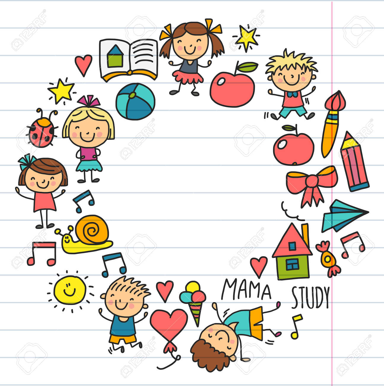 Niños Dibujando La Escuela De Jardín De Infantes Niños Felices