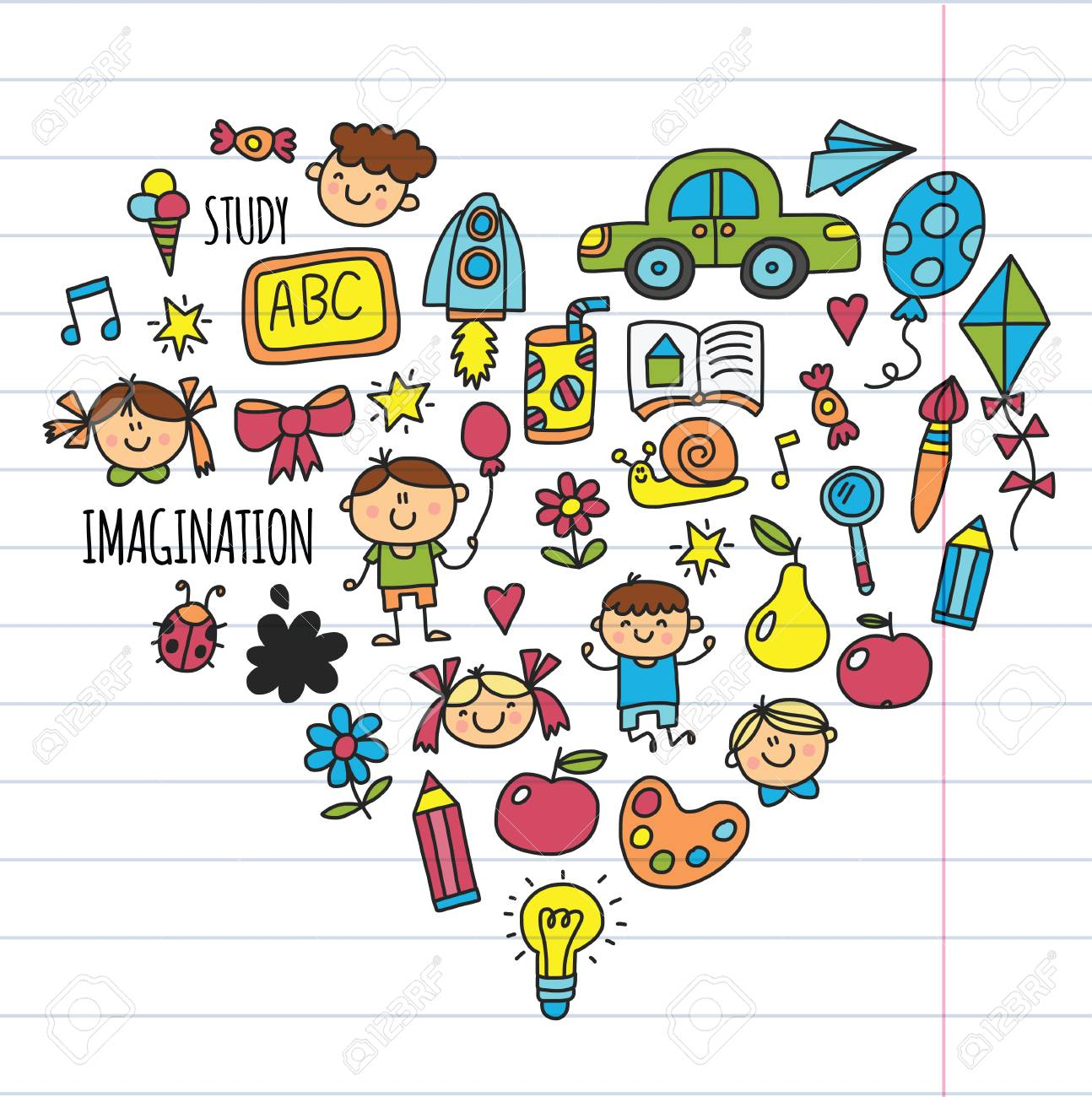 School Education Children Play And Grow Kids Drawing Icons Royalty Free Cliparts Vectors And Stock Illustration Image 89287188