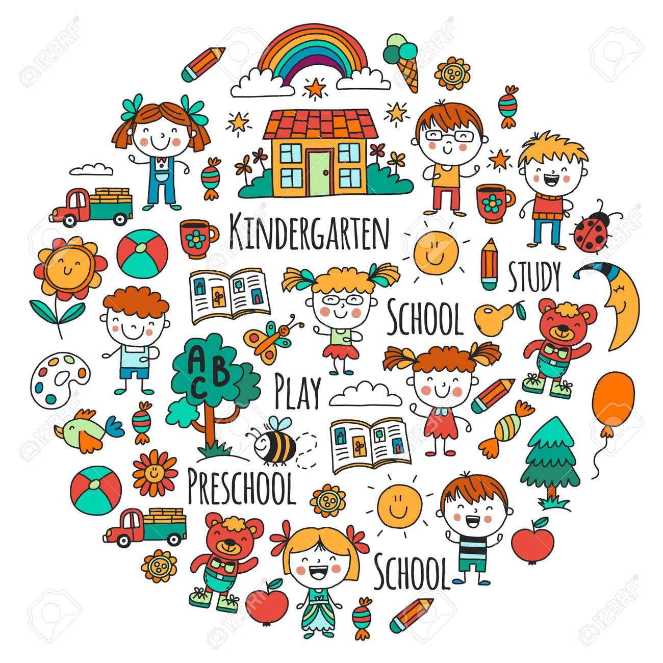 想像力 探査 研究 再生します ご覧ください 幼稚園 子供たち 子供たちを描きます 落書きアイコン イラスト 月 家 男の子と女の子 幼稚園 学校の画像 ベクトル パターンのイラスト素材 ベクタ Image