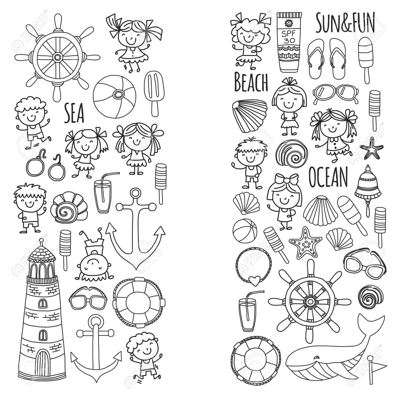 Coloring Page Beach Set With Children\'s School Vacation. Small ...
