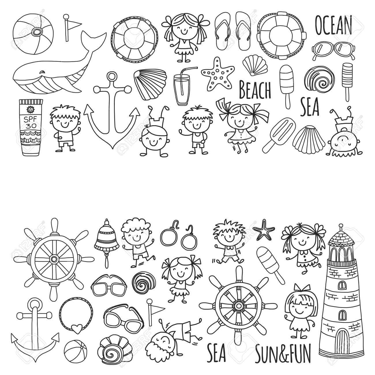 Coloriage Fille Avec Modele.Coloriage Plage Avec Des Vacances Scolaires Pour Enfants Petits Enfants Creche Mer Ocean Phare Garcons Et Filles Doodle Des Icones Vectorielles