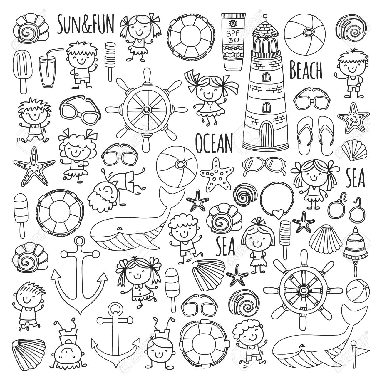 Coloring Page Beach Set With Children\'s School Vacation, Small ...