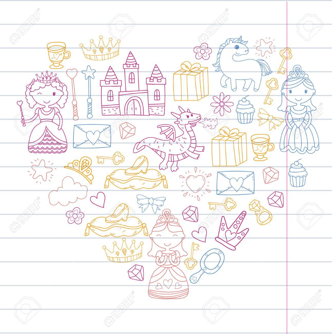 Conjunto De Doodle Princesa Y Fantasía Icono Y Elemento Para Invitación Y Tarjeta De Felicitación Niños Dibujo Preescolar Escuela Patrón De Diseño
