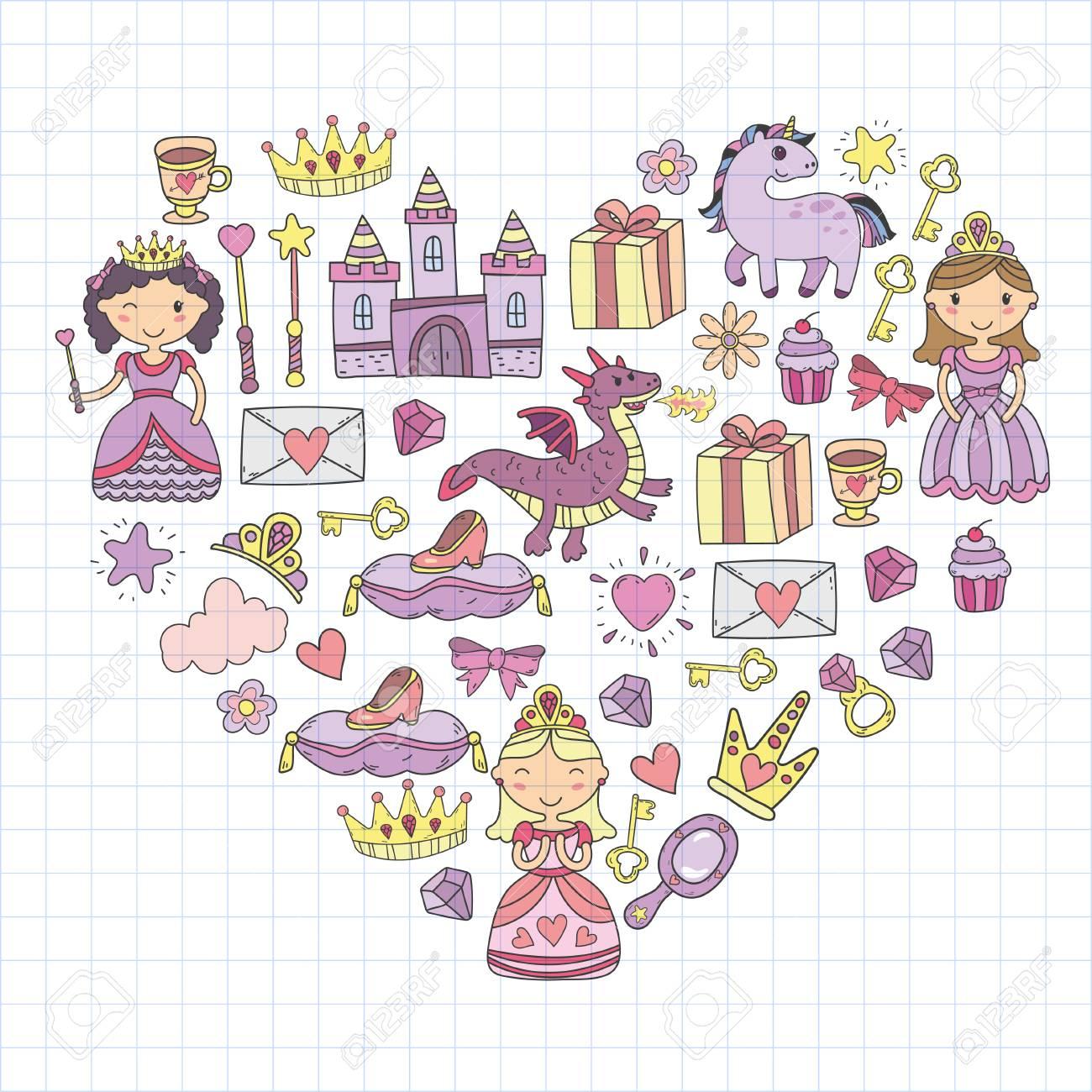 Conjunto De Icono De Princesa Y Fantasía De Doodle Yy Elemento De Diseño Para Invitación Y Tarjeta De Felicitación Niños Dibujando Kindergarten