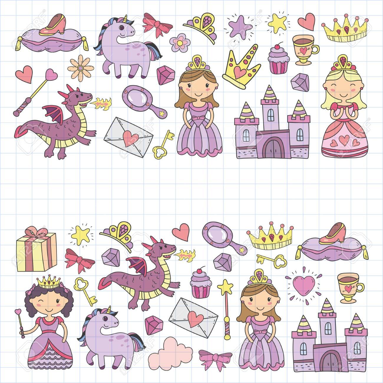 Conjunto De Icono De Princesa Y Fantasía De Doodle Yy Elemento De Diseño Para Invitación Y Tarjeta De Felicitación Niños Dibujando Preescolar