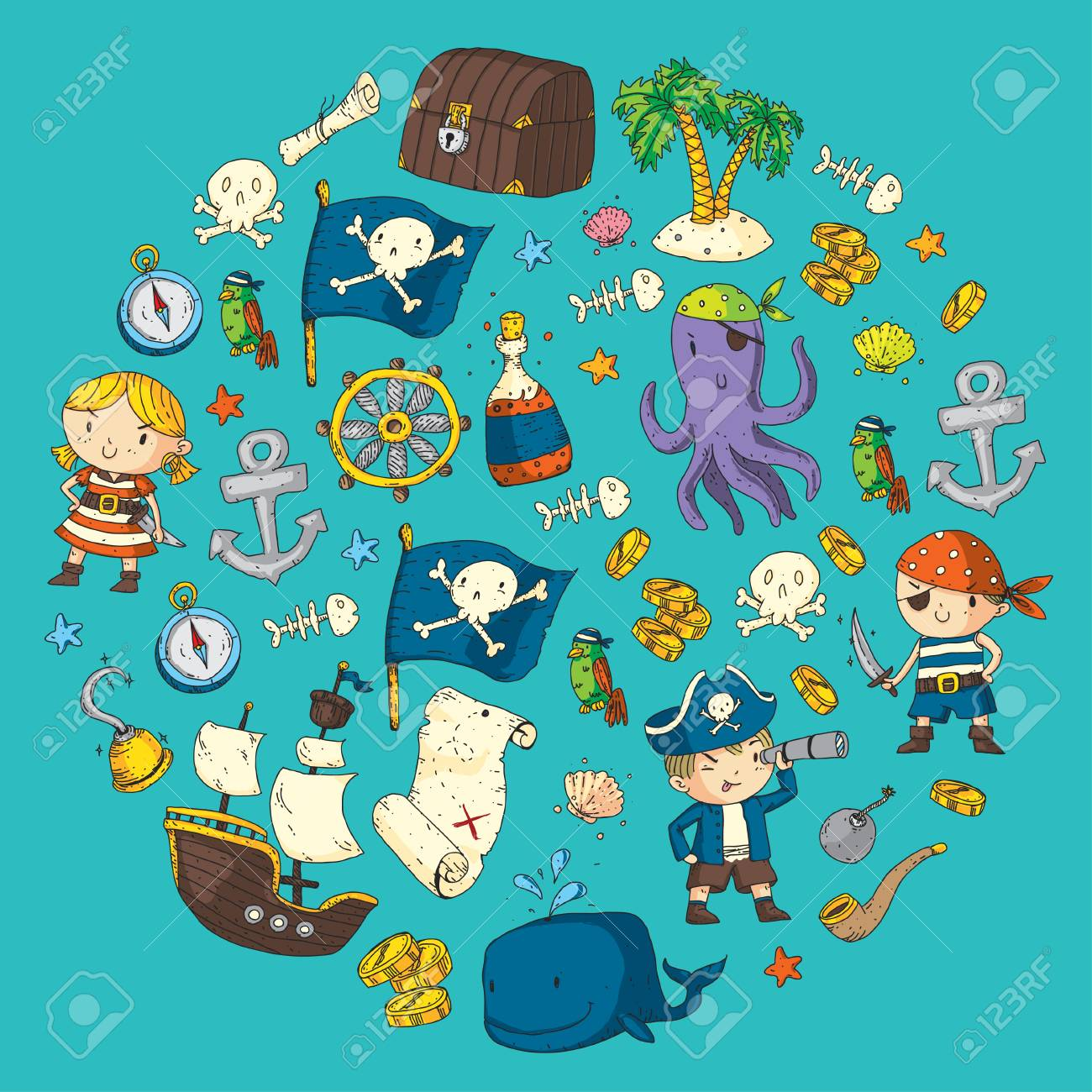 Pirate adventures Pirate party Kindergarten pirate party for children Adventure, treasure, pirates, octopus, whale, ship Kids drawing pattern - 91276215