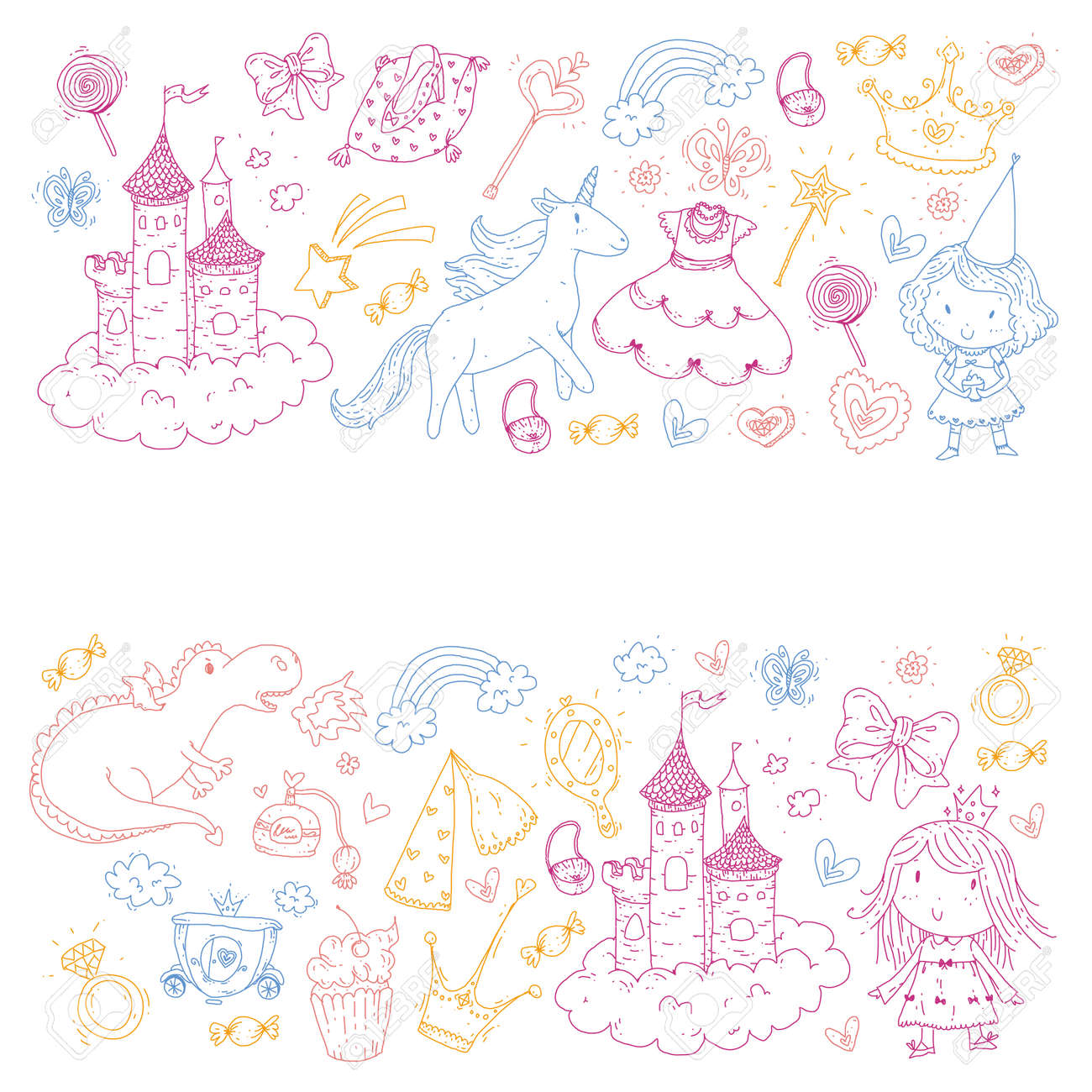 Cute princess Icons set with unicorn, dragon Girl wallpaper Baby shower Invitation Kindergarten, preschool