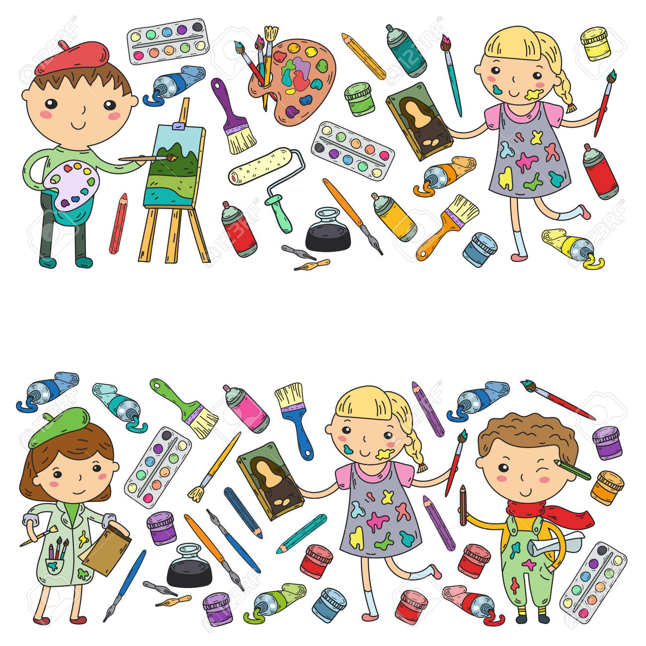Children creativity kindergarten school art boys and girls drawing and painting pictures children art and