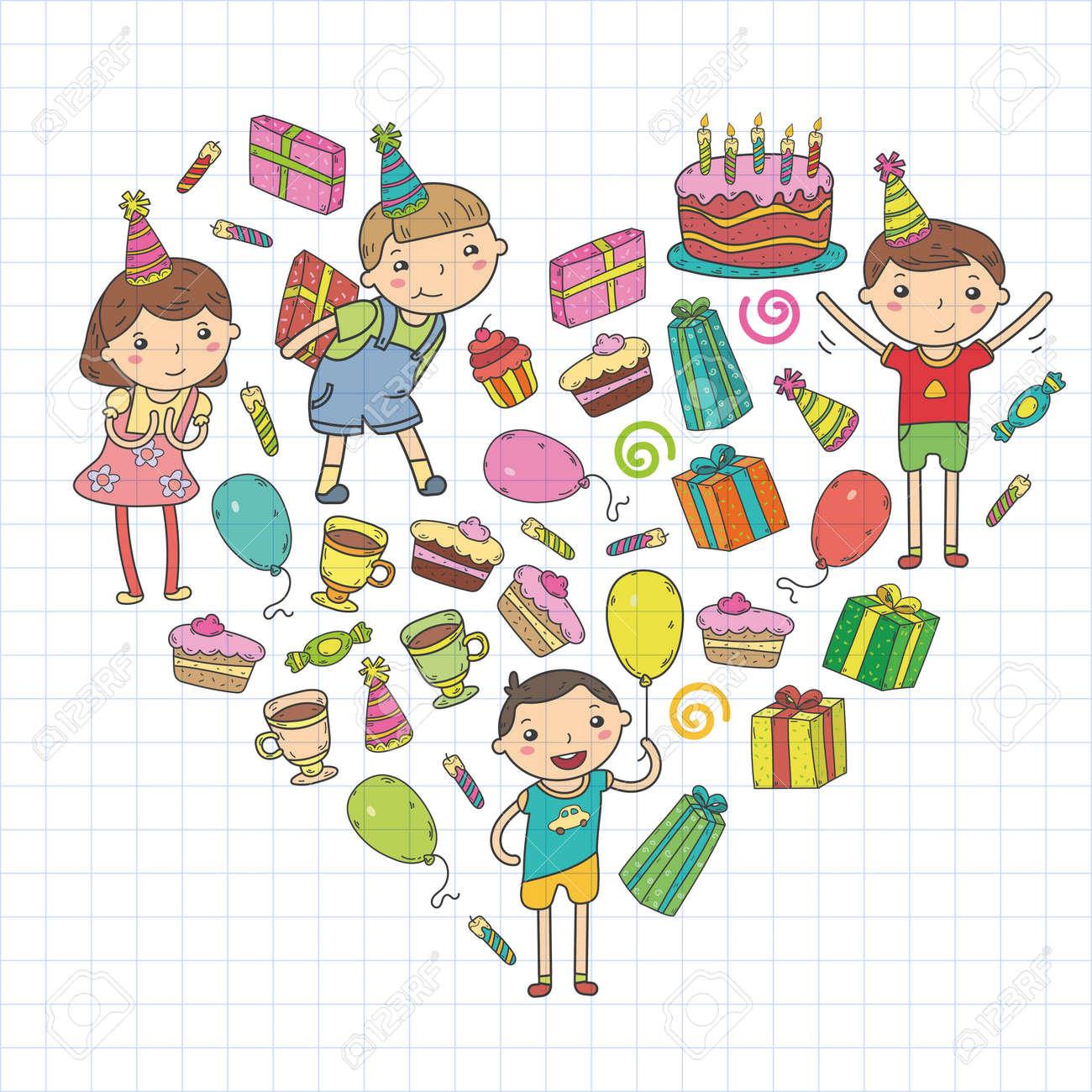 Diseño De Vectores De Feliz Cumpleaños. Fiesta De Cumpleaños De ...