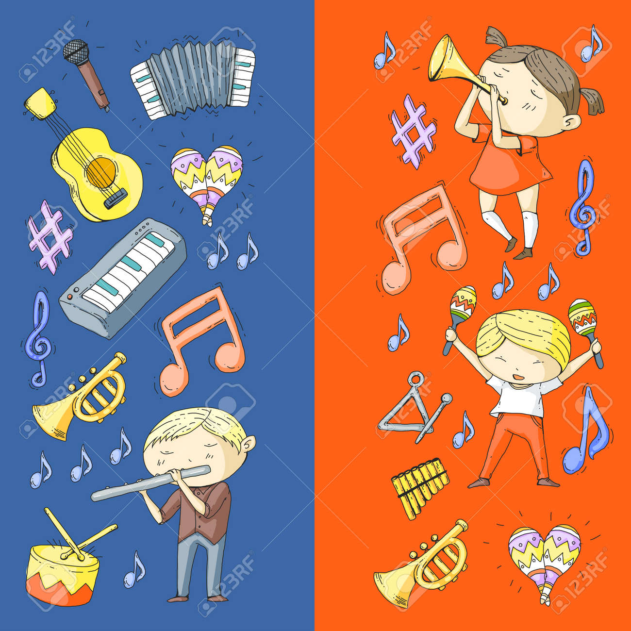 School of music, musical theater. Kindergarten children with music instruments. Boys and girls playing drum, flute, accordion, trumpet, piano. - 92355825