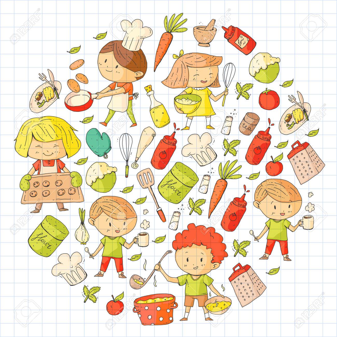 Crianças Fofos Cozinhar Alimentos Crianças Do Jardim De Infância E Da Escola Crianças De Desenho Aula De Culinária Café De Crianças E